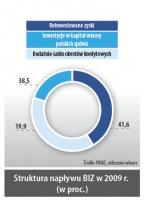 Struktura napływu BIZ w 2009r. (w proc.)