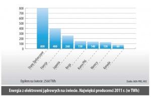 Energia z elektrowni jądrowych na świecie. Najwięksi producenci 2011r. (w TWh)