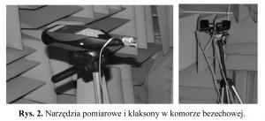 Rys. 2. Narzędzia pomiarowe i klaksony w komorze bezechowej.