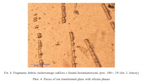 Fot. 4. Fragmenty dobrze zachowanego szkliwa z fazami krzemianowymi, pow. 100×, 1N (fot. I. Jonczy)