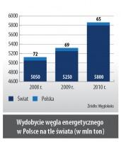 Wydobycie węgla energetycznego w Polsce na tle świata (w mln ton)