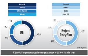 Najwieksi importerzy wegla energetycznego w 2010 r. (w mln ton)