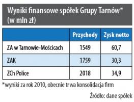 Wyniki finansowe spółek Grupy Tarnów (w mln zł)