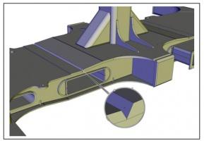 Rys. 1. Fragment podwozia wagonu z zaznaczonym, badanym złączem spawanym - spoina 1/2V