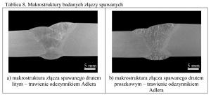 Tablica 8. Makrostruktury badanych złączy spawanych