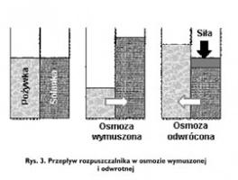 Rys. 3. Przepływ rozpuszczalnika w osmozie wymuszonej i odwrotnej