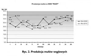 Rys. 2. Produkcja mułów węglowych