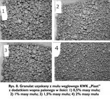 """Rys. 8. Granulat uzyskany z mułu węglowego KWK """"Piast"""" z dodatkiem wapna palonego w ilości: 1) 0,5% masy mułu; 2) 1% masy mułu; 3) 1,5% masy mułu; 4) 2% masy mułu"""