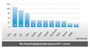 Kto stworzył najwięcej miejsc pracy w 2011 r. (w tys.)