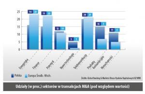 Udziały (w proc.) sektorów w transakcjach M&A (pod wzgledem wartosci)