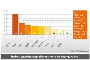 Struktura sprzedazy europejskiego przemysłu chemicznego (w proc.)