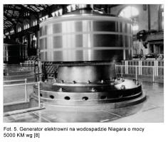 Fot. 5. Generator elektrowni na wodospadzie Niagara o mocy 5000 KM wg [8]