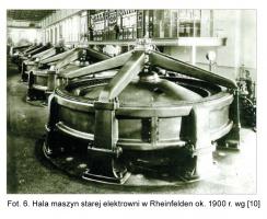 Fot. 6. Hala maszyn starej elektrowni w Rheinfelden ok. 1900 r. wg [10]