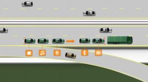 Cała kolumna jest połączona za pośrednictwem łącza bezprzewodowego, które gwarantuje, że pojazdy znajdujące się z tyłu poruszają się precyzyjnie po torze jazdy lidera – tak jakby pociąg drogowy składał się z pojedynczego pojazdu / foto: Volvo Trucks