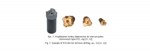 Rys. 7. Przykładowe świdry diamentowe do wierceń pełno otworowych typu PCD, wg [21, 22]