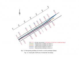Rys. 12. Rzeczywisty przebieg osi otworów w rzucie poziomym (mapa)