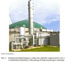 Rys. 3.Instalacja produkcji biogazu z roślin oraz odpadów organicznych wraz z wydzielaniem biometanu i wtłaczania go do krajowej sieci gazu ziemnego.