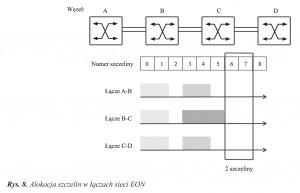 Rys. 8. Alokacja szczelin w łączach sieci EON