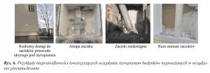 Rys. 6. Przykłady nieprawidłowości towarzyszących ocieplaniu styropianem budynków wyposażanych w urządzenie piorunochronne