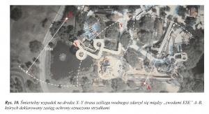 """Rys. 10. Śmiertelny wypadek na drodze X–Y (trasa ześlizgu wodnego) zdarzył się między """"zwodami ESE"""" A–B, których deklarowany zasięg ochrony oznaczono strzałkami"""