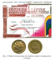 Rys. 5. Medal i towarzyszący mu dyplom z targów wynalazczości w Paryżu