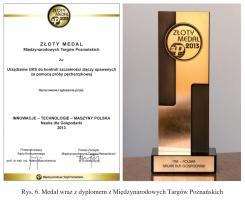 Rys. 6. Medal wraz z dyplomem z Międzynarodowych Targów Poznańskich