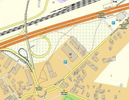 Zrzut 2. Mapa wrocławskiego Psiego Pola. Jedna ze standardowych prezentacji treści mapy OpenStreetMap. Proszę zwrócić uwagę na numery adresowe - takie  informacje również znajdziemy w danych OSM. Kolejnym z parametrów wizualizowanych na tej mapie jest wysokość budynków – możemy zauważyć dziesięciopiętrowy blok mieszkalny w centralnej części zrzutu ekranu.
