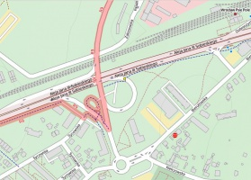 """Zrzut 3. Wrocławskie Psie Pole przedstawione w konwencji mapy rowerowej. Źródło danych to nadal ta sama mapa i baza OpenStreetMap. Kolejny przykład """"formatowania"""" danych pod kątem specyficznych potrzeb użytkownika."""