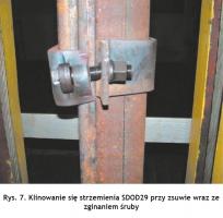 Rys. 7. Klinowanie się strzemienia SDOD29 przy zsuwie wraz ze zginaniem śruby Fig. 7. Wedging of the SDOD29 shackle during slipping with bending of the bolt