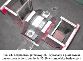 Rys. 24. Bezpiecznik jarzmowy (BJ) wykonany z płaskownika zamontowany do strzemienia SD-29 w stanowisku badawczym Fig. 24. Yoke protector (BJ) made of a flat bar and fastened to the SD-29 shackle on the test bed