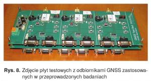 Rys. 8. Zdjęcie płyt testowych z odbiornikami GNSS zastosowanych w przeprowadzonych badaniach