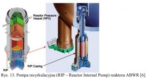 Rys. 13. Pompa recyrkulacyjna (RIP – Reactor Internal Pump) reaktora ABWR [6].