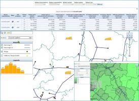 Prezentacja najistotniejszych informacji dotyczących prognozowanych dostaw gazu. Zestaw niezbędnych dla analityka danych ułożony został w jednym spójnym kokpicie, umożliwiającym zarówno przedstawienie syntetyczne danych prognostycznych (dla całego kraju) jak i ich analizę na kolejnych poziomach szczegółowości, do poziomu gminy i miejscowości włącznie.