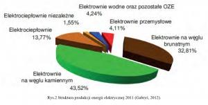 Rys.2.Struktura produkcji energii elektrycznej 2011 (Gabryś, 2012).