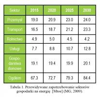 Tabela 1. Przewidywane zapotrzebowanie sektorów gospodarki na energię [Mtoe] (MG, 2009).