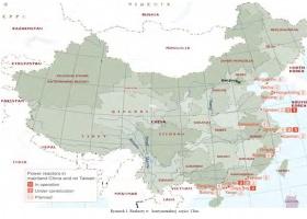 Mapka Chin z elektrowniami jądrowymi