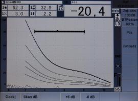 Rys. 2. Przykład badań ultradźwiękowych złącza FSW ze stopu aluminium w gatunku 6082 b) złącze prawidłowo wykonane bez niezgodności