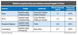 Niektóre projekty dotyczące budowy nowych kopalń w Polsce