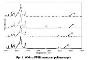 Rys. 1. Widma FT-IR membran polimerowych
