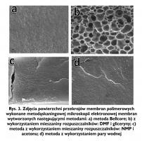 Rys. 3. Zdjęcia powierzchni przekrojów membran polimerowych wykonane metodąskaningowej mikroskopii elektronowej membran wytworzonych następującymi metodami: a) metoda Bellcore; b) z wykorzystaniem mieszaniny rozpuszczalników: DMF i gliceryny; c) metoda z wykorzystaniem mieszaniny rozpuszczalników: NMP i acetonu; d) metoda z wykorzystaniem pary wodnej