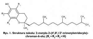 Rys. 1. Struktura tokolu: 2-metylo-2-(4',8',12'-trimetylotridecylo)-chroman-6-olu; (R1=R2=R3=H)