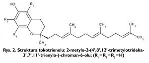 Rys. 2. Struktura tokotrienolu: 2-metylo-2-(4',8',12'-trimetylotrideka-3',7',11'-trienylo-)-chroman-6-olu; (R1=R2=R3=H)