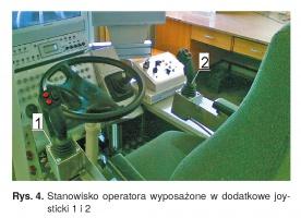 Rys. 4. Stanowisko operatora wyposażone w dodatkowe joy-sticki 1 i 2