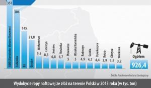 Wydobycie ropy naftowej ze złóz na terenie Polski w 2013 roku (w tys. ton)