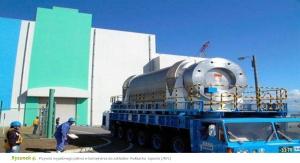 Rysunek 4. Przywóz wypalonego paliwa w kontejnerze do zakładów Rokkasho Japonia (JNFL)