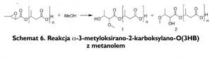 Schemat 6. Reakcja α-3-metyloksirano-2-karboksylano-O(3HB) z metanolem