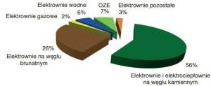 Rys. 1. Struktura mocy elektrycznej osiągalnej na koniec listopada 2011 [2]