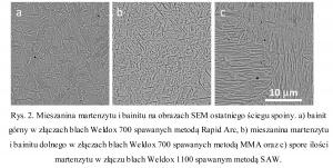 Rys. 2. Mieszanina martenzytu i bainitu na obrazach SEM ostatniego ściegu spoiny. a) bainit górny w złączach blach Weldox 700 spawanych metodą Rapid Arc, b) mieszanina martenzytu i bainitu dolnego w złączach blach Weldox 700 spawanych metodą MMA oraz c) spore ilości martenzytu w złączu blach Weldox 1100 spawanym metodą SAW.
