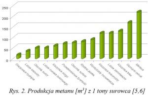 2. Produkcja metanu [m3] z 1 tony surowca [ 5,6 ]