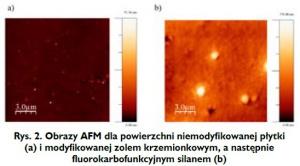 Rys. 2. Obrazy AFM dla powierzchni niemodyfikowanej płytki (a) i modyfikowanej zolem krzemionkowym, a następnie fluorokarbofunkcyjnym silanem (b)
